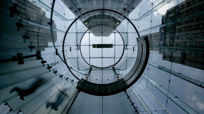 A look up the from elevator at the new Apple retail store on Fifth Avenue in New Yor