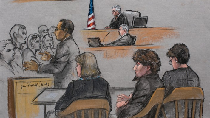 A courtroom sketch shows prosecutor Aloke Chakravarty addressing the jury during closing arguments in the trial for accused Boston Marathon bomber Dzhokhar Tsarnaev at the federal courthouse in Boston