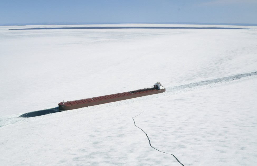 The James R Barker Lake Freighter is shown trapped in ice in this aerial photo near Whitefish Bay on Lake Superior northwest of Sault Ste. Marie