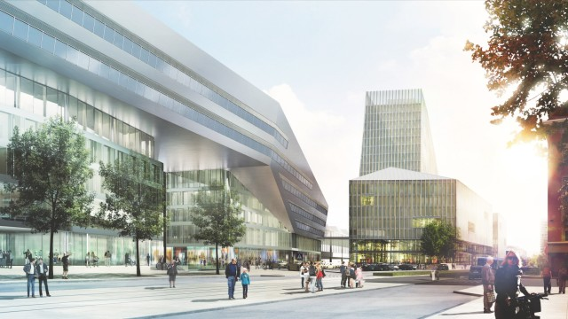 Pläne der Bahn: Das neu geplante Hochhaus würde sogar den Turm des Bayerischen Rundfunks überragen.