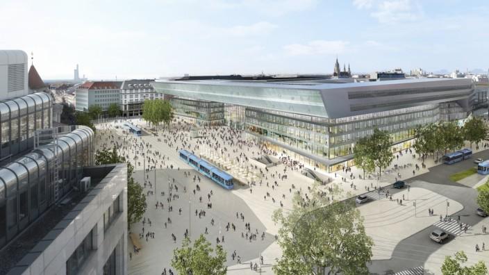 Pläne der Bahn: Ein 75 Meter hoher Büro- oder Hotelturm an der Arnulfstraße, außerdem ein vom Autoverkehr befreiter Bahnhofsvorplatz - so sehen die Pläne der Stadt und der Deutschen Bahn aus.