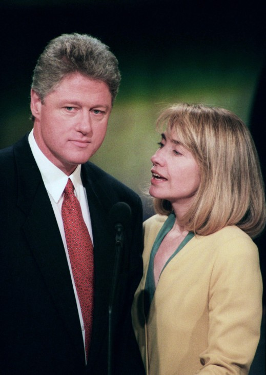 File photo of Democratic Presidential candidate Clinton and his wife in New York