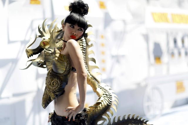 Bai Ling arrives at the 2015 MTV Movie Awards in Los Angeles