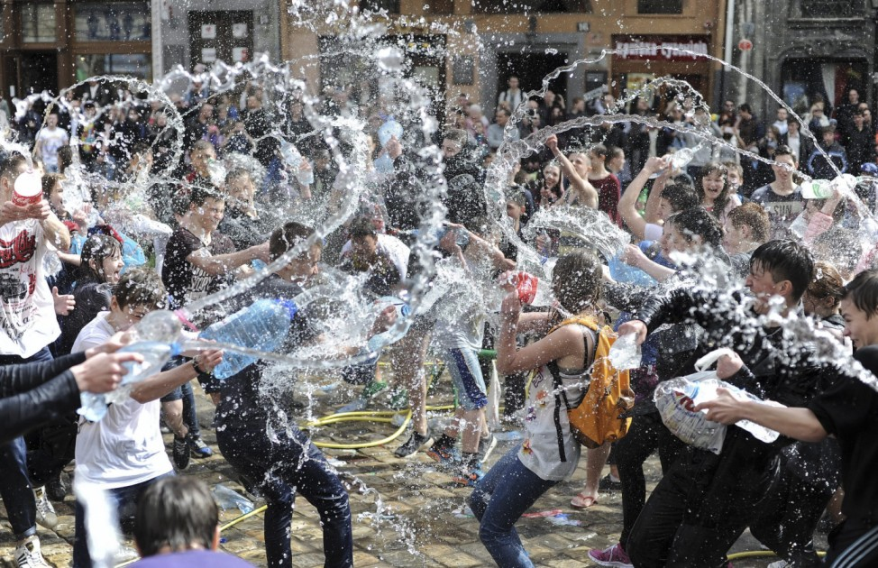 Cleansing tradition by pouring water in Ukraine