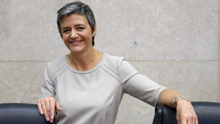 EU Competition Commissioner Vestager attends a meeting of the EU's executive body in Brussels