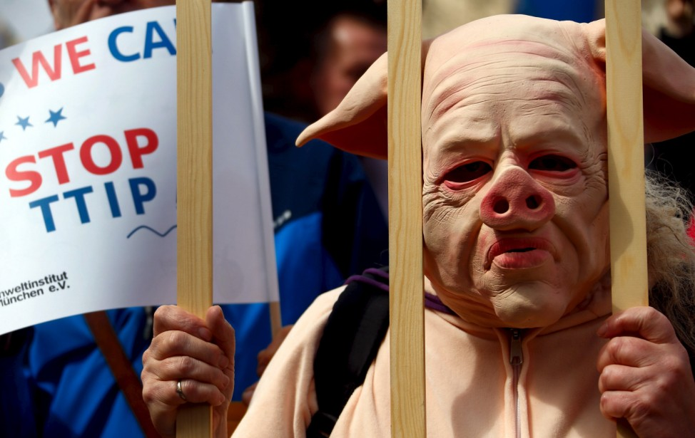 People dressed in costumes take part in a demonstration against the Transatlantic Trade and Investment Partnership (TTIP) in Munich