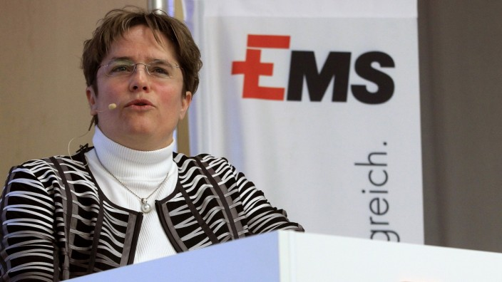CEO Martullo-Blocher of Swiss Ems-Chemie Holding AG addresses an annual news conference in Zurich