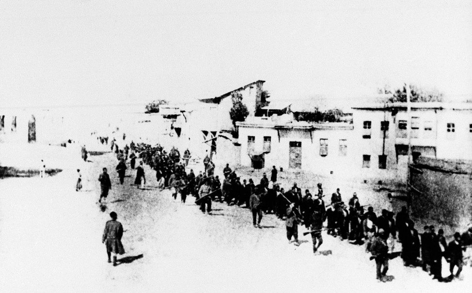FILE - This is the scene in Turkey in 1915 when Armenians were marched long...