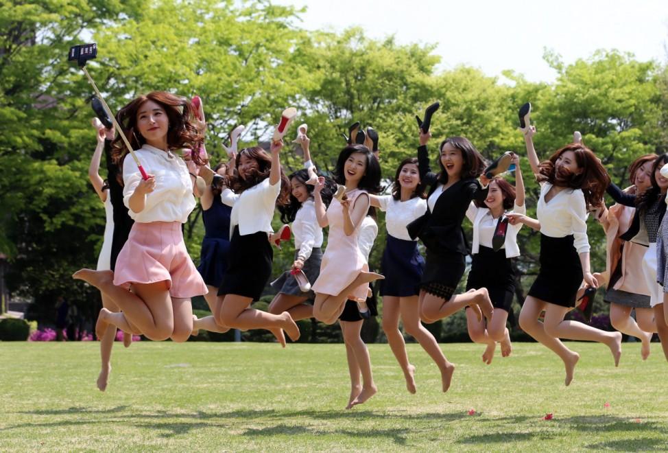 Graduation selfie at S. Korean university