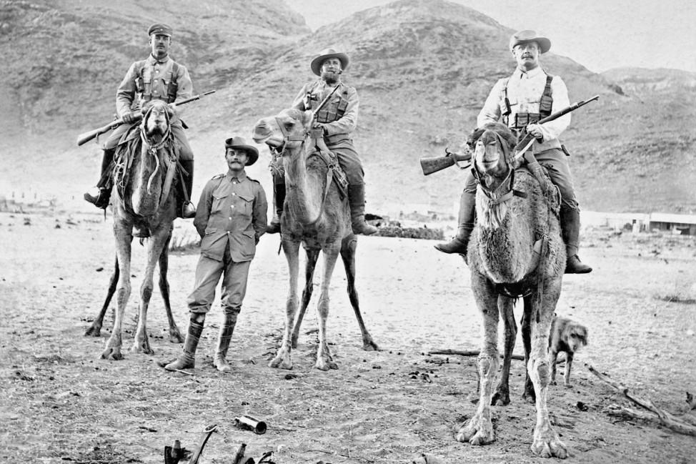 Kamelreiter der Schutztruppe während des Herero-Aufstandes, 1904