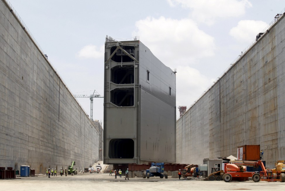 Steel rolling gate, part of the last set of locks on the Pacific side, is seen before being installed as part of the Panama Canal Expansion Project in Panama City