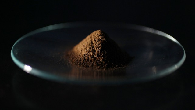 A mud sample extracted from the depths of about 4,000 metres (13,123 ft) below the Pacific ocean surface is pictured in Tokyo