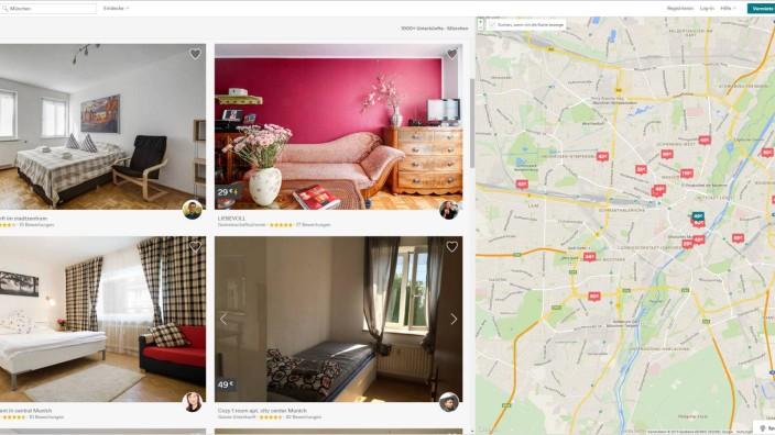 Zweckentfremdung von Wohnungen: Lukratives Geschäft: Mehr als 2000 Wohnungen würden auf diversen Onlineportalen für Urlauber angeboten, schätzt der Mieterverein. Screenshot: Airbnb