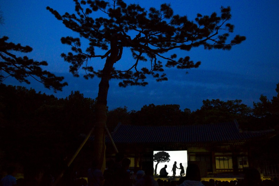 People watch shadow play performance at Changgyeonggung  Palace in Seoul