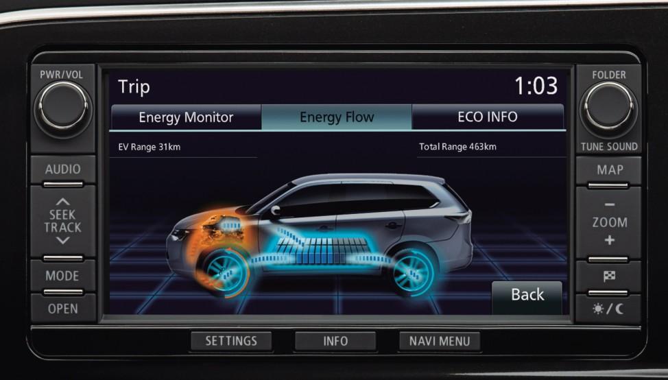Der Touchscreen des Mitsubishi Outlander Plug-In-Hybrid.