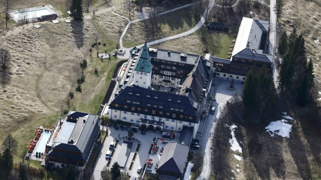 An aerial view shows the new building of the hotel castle Elmau in Kruen