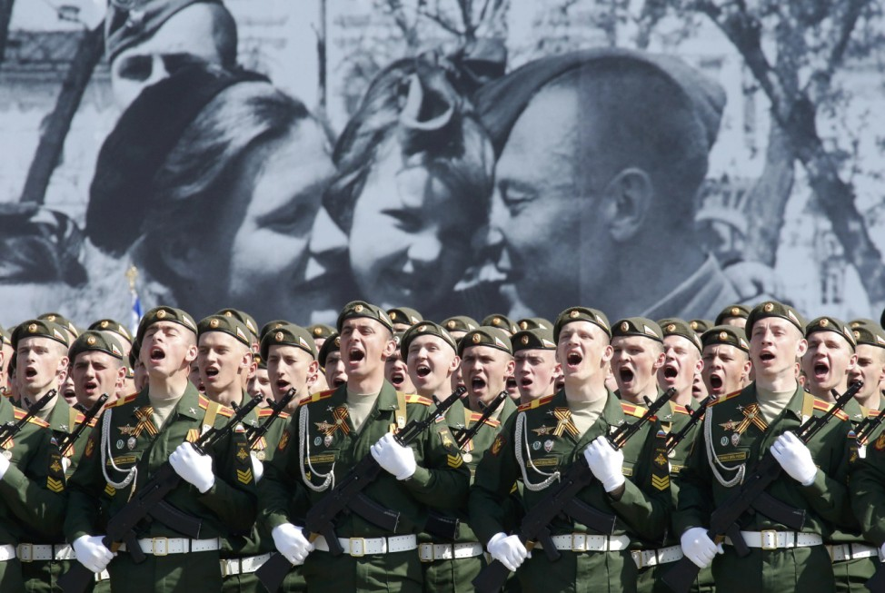 Servicemen march during Victory Day parade at Red Square in Moscow