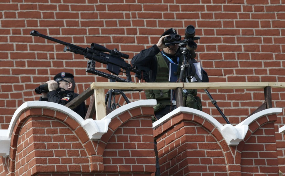 Snipers take up position prior to Victory Day parade at Red Square in Moscow