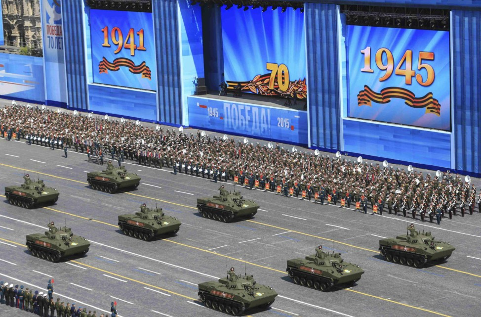 Russian BMD-4M Sadovnitsa infantry fighting vehicles drive during the Victory Day parade at Red Square in Moscow