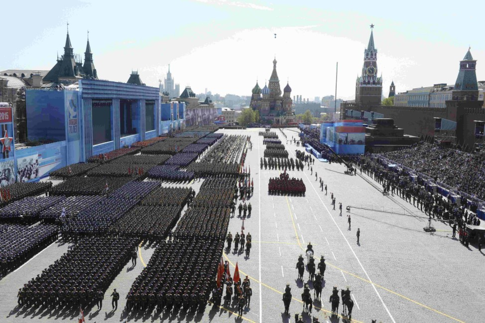 Russian servicemen march during the Victory Day parade at Red Square in Moscow