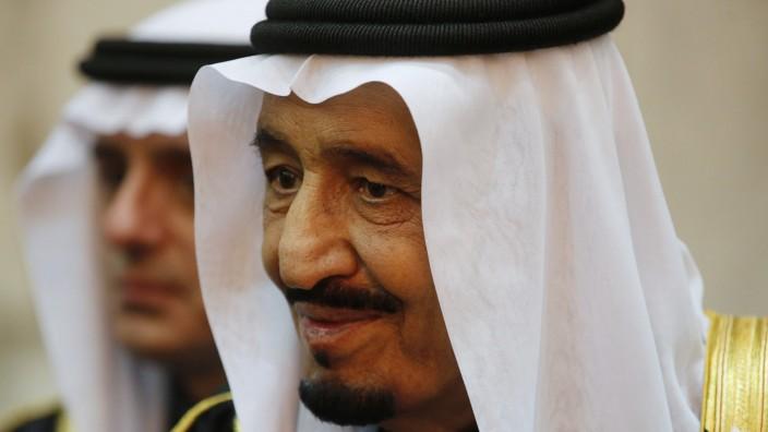 Saudi King Salman is seen during U.S. President Obama's visit to Erga Palace in Riyadh