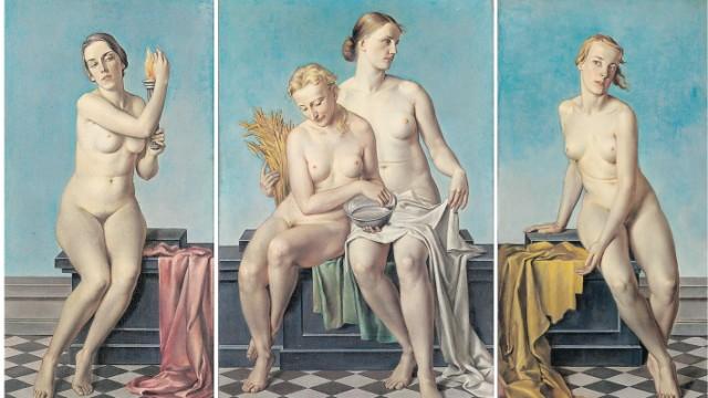 """Ausstellung: Adolf Ziegler (1892-1959), """"Die Vier Elemente"""", vor 1937. 1953 übertragen aus Staatsbesitz (ehemals NS-Besitz)."""