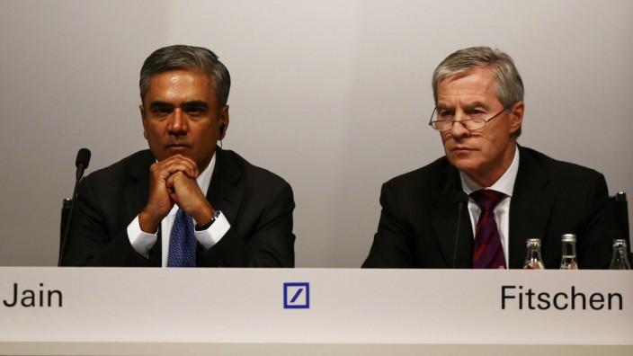 Jain and Fitschen, co-CEOs of Deutsche Bank, attend the bank's annual general meeting in Frankfurt