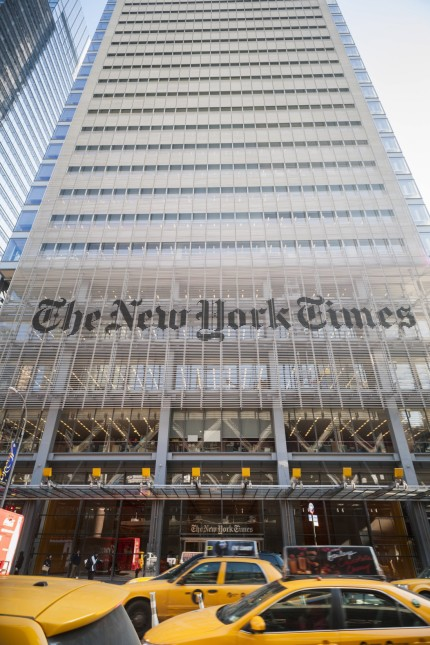 The offices of the the New York Times media empire in Midtown in New York on Thursday January 15 2