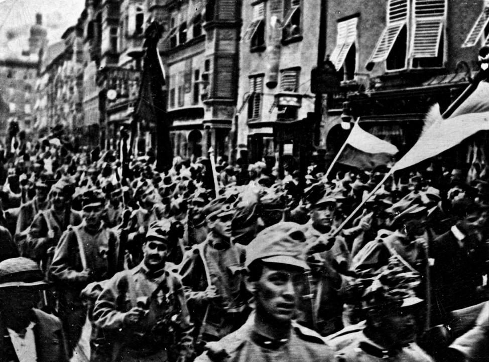 Österreichische Soldaten werden gegen Italien mobilisiert, 1915