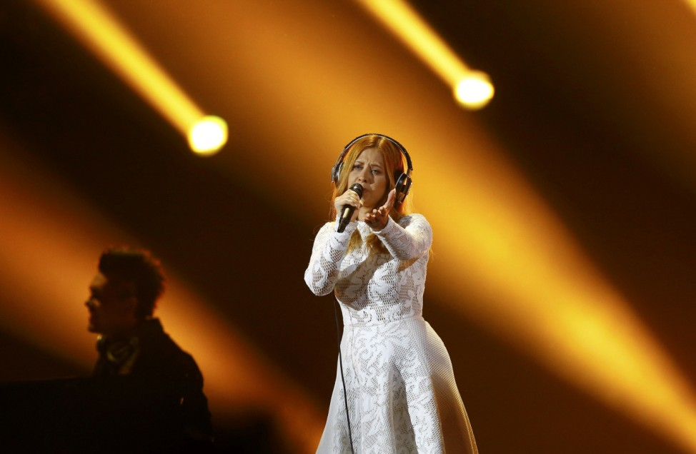Singer Maraaya representing Slovenia performs the song 'Here For You' during the final of the 60th annual Eurovision Song Contest in Vienna