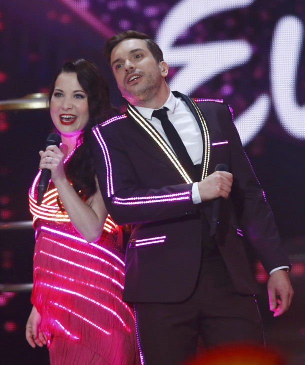 Electro Velvet representing the United Kingdom perform the song 'Still In Love With You' during the final of the 60th annual Eurovision Song Contest in Vienna