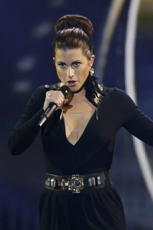Singer Sophie representing Germany performs the song 'Black Smoke' during the final of the 60th annual Eurovision Song Contest in Vienna