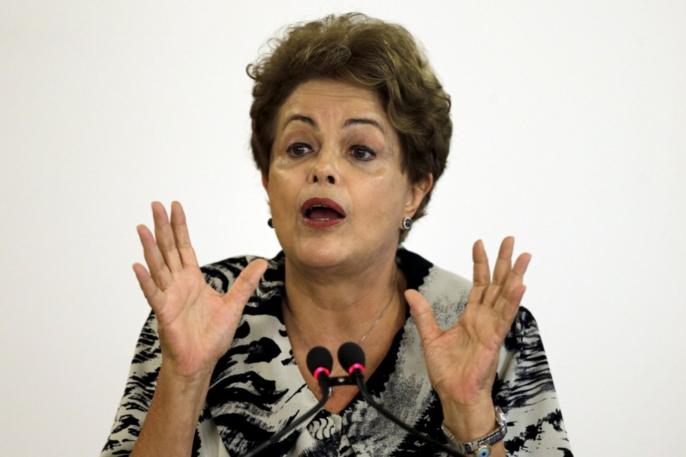Brazil's President Dilma Rousseff reacts during the ceremony at the Planalto Palace in Brasilia