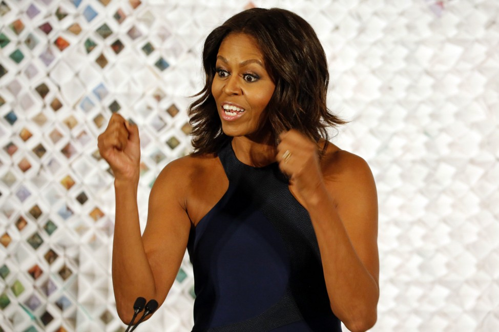 U.S. first lady Michelle Obama speaks at the White House in Washington