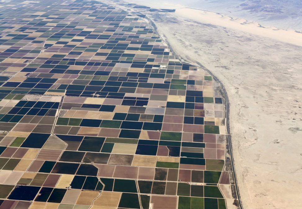 Agricultural farm land is shown next to the desert in the central valley near El Centro