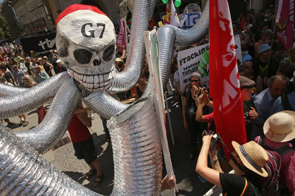 Demonstrators In Munich Protest Upcoming G7 Summit
