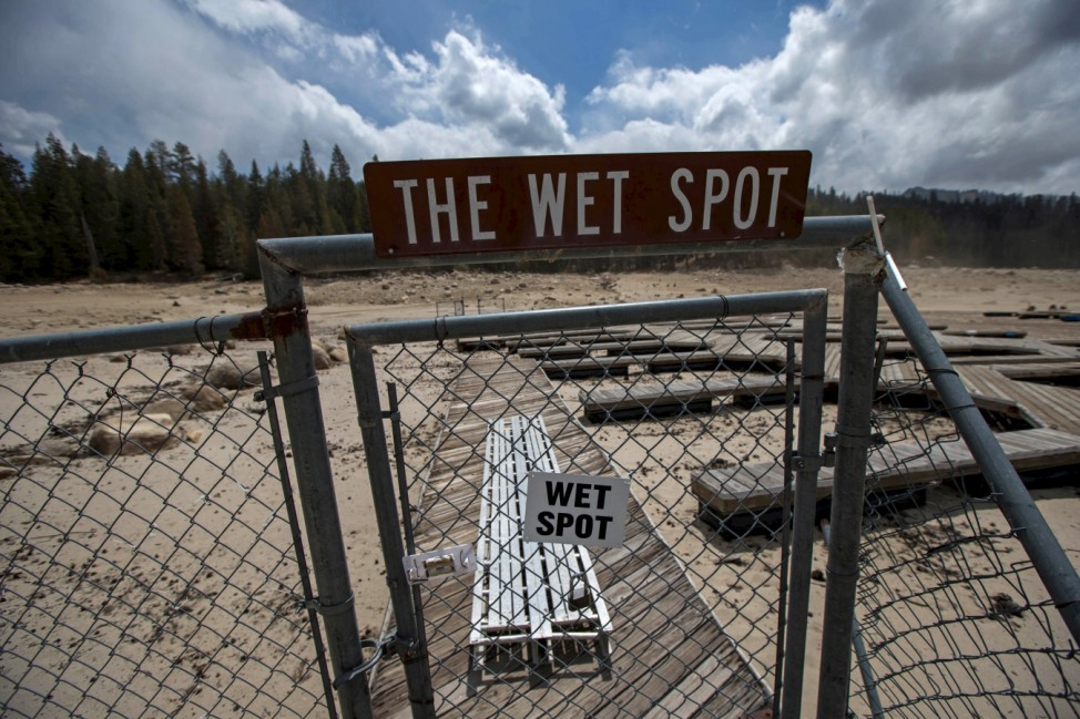 File photo of a security gate blocking the entrance to a dry boat dock at Huntington Lake in the High Sierra