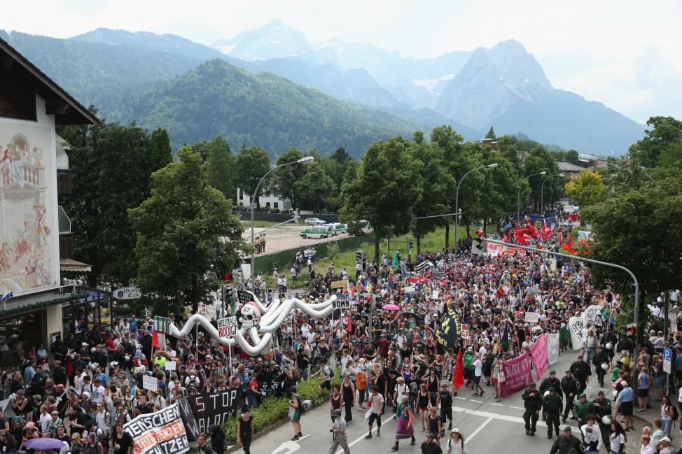 Demonstrators Protest Before G7 Summit In Garmisch-Partenkirchen