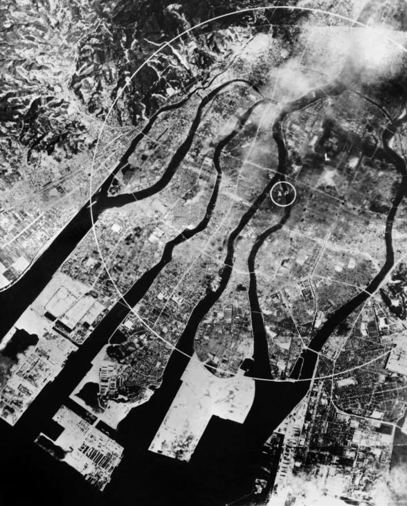 Hiroshima nach dem Atombombenabwurf, 1945,Hiroshima nach dem Atombombenabwurf, 1945 !!!Achtung, nur in einer reinen SZ-Photo-Biga in Zusammenhang mit dem 70. Jahrestag der Atombombenabwürfe über Japan zu verwenden!!!