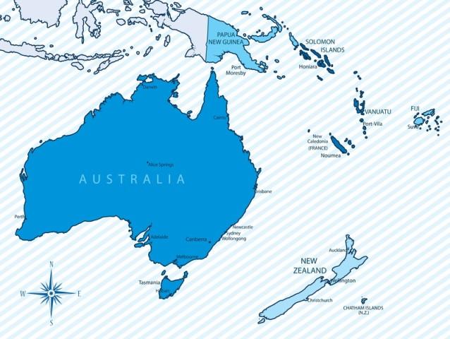 Oceania Ozeanien Australien Neuseeland australia new zealand map karte