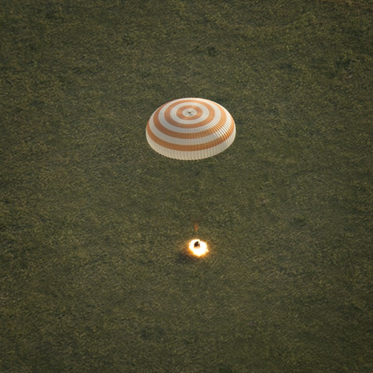 Soyuz TMA-15M spacecraft is seen as it lands with ISS crew near the town of Zhezkazgan