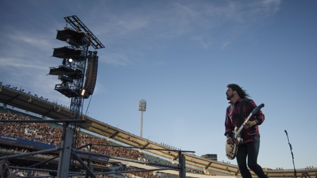 Foo Fighters band member Dave Grohl performs during the band's concert at Nya Ullevi in Gothenburg