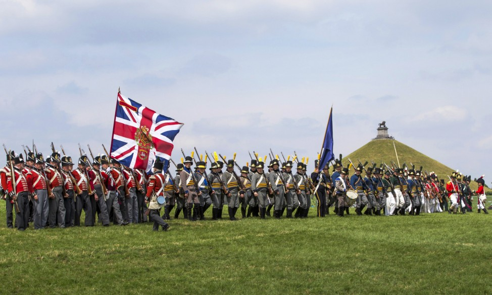 Re-enactors train in the Allied Bivouac camp during the bicentennial celebrations for the Battle of Waterloo in Waterloo