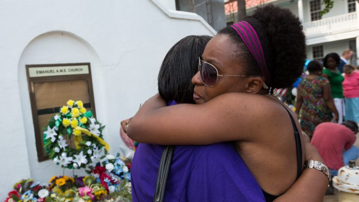 Vigil after mass shooting in Charleston USA