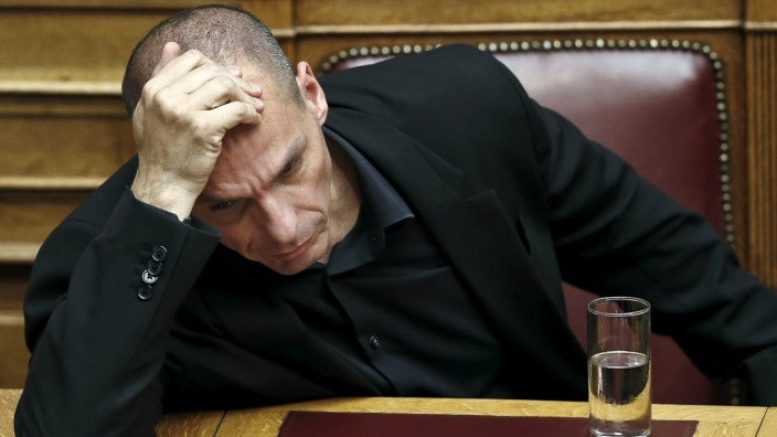 Greek Finance Minister Varoufakis attends a parliamentary session in Athens