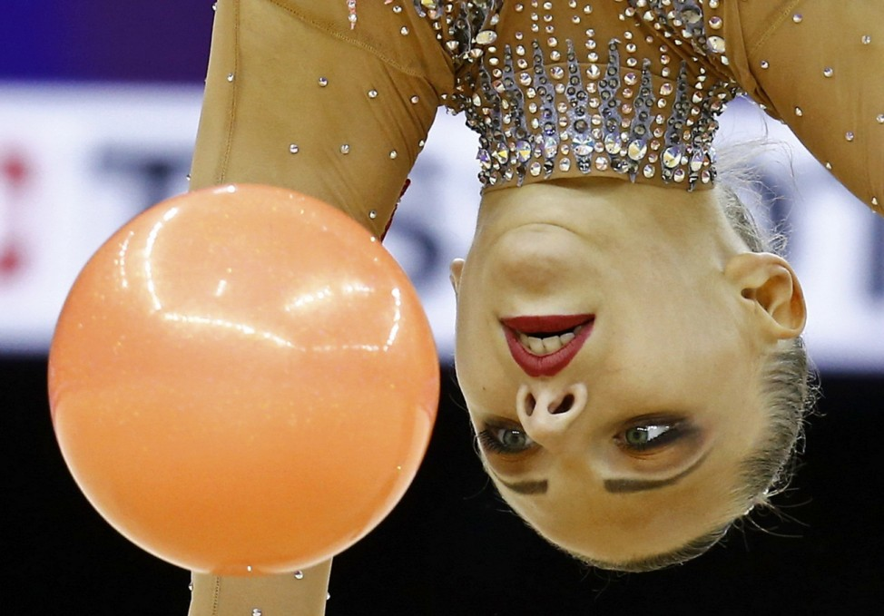 Staniouta of Belarus performs during the rhythmic gymnastics individual hoop final at the 1st European Games in Baku