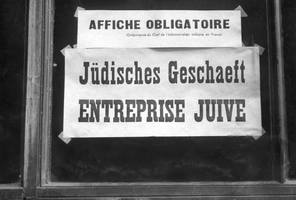 Kennzeichnung eines jüdischen Geschäfts in Paris, 1940