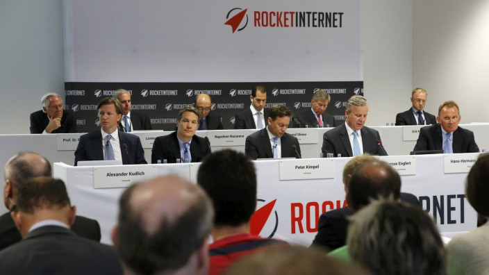 A general view shows members of the board of Rocket Internet during their shareholder meeting in Berlin