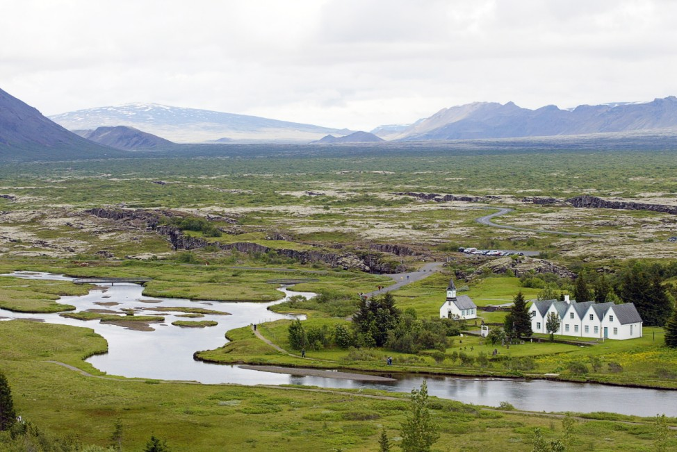 church of Pingvellir, the site of the world's first parliament created 930 AD by the early Viking settlers in the now Thingvellir national park.