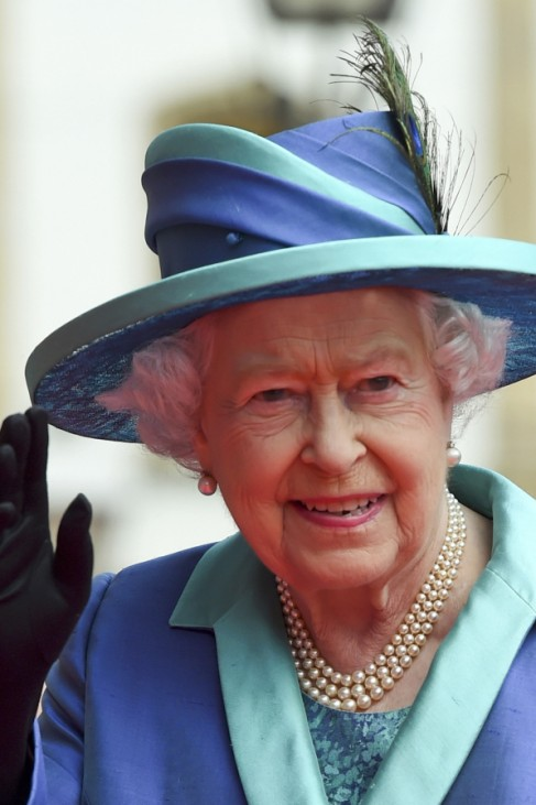 Britain's Queen Elizabeth walks from St. Paul's Church to Roemer townhall in Frankfurt
